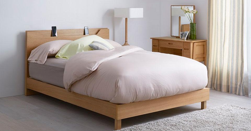ノブルシリーズのベッドフレーム「ノブルB 薄型宮付」