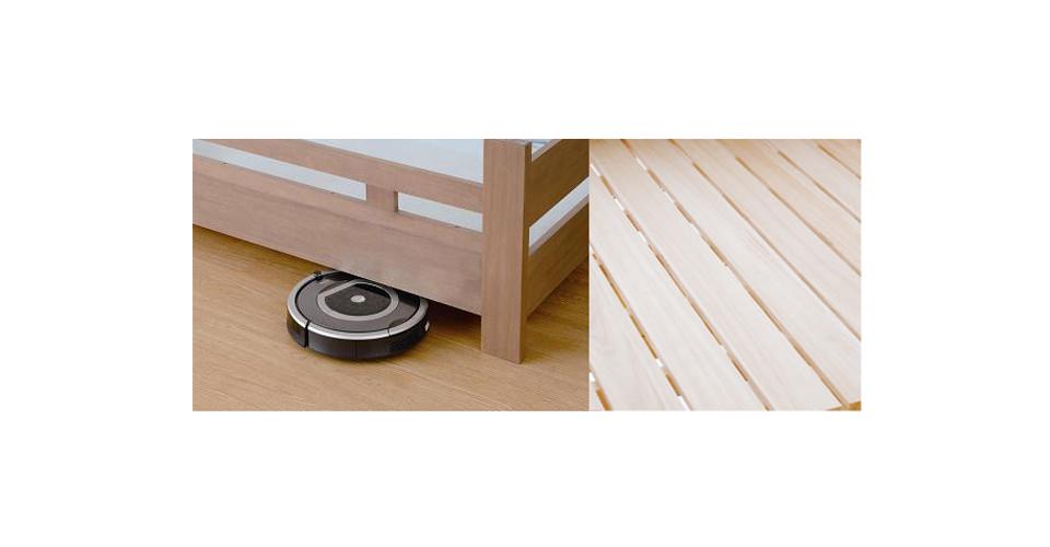 お掃除しにくいベッド下の狭いスペースは、お掃除ロボットも入っていける高さに設定されています。<br> また、床板は通気性に優れたスノコになっています。